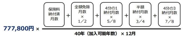 老齢基礎年金の計算式(年額)